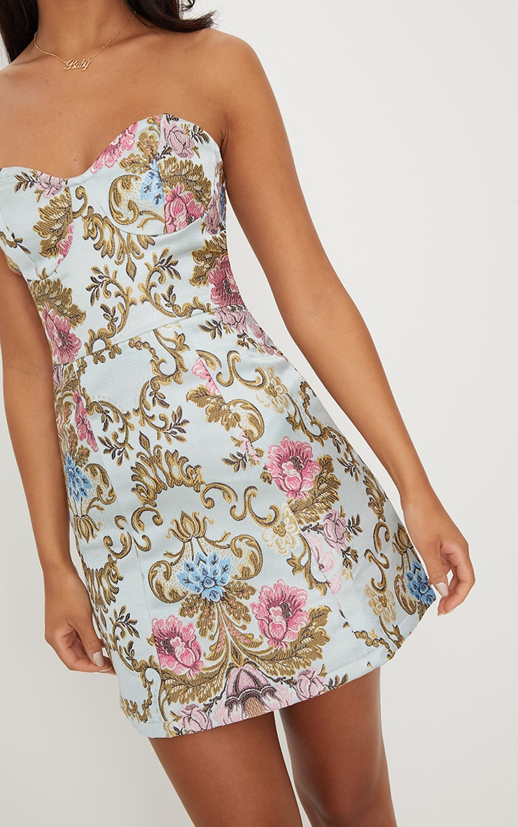 Dusty Blue Baroque Print Bandeau A Line Dress 5
