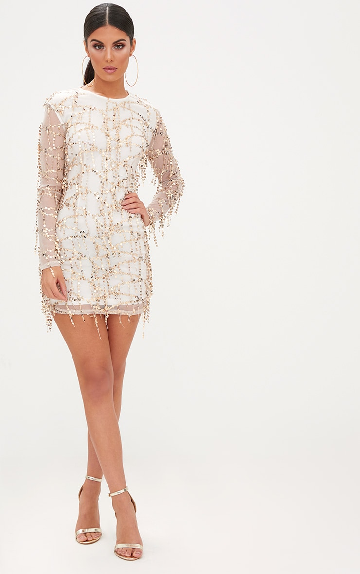 Rose Gold Sequin Detail Long Sleeve Bodycon Dress 4