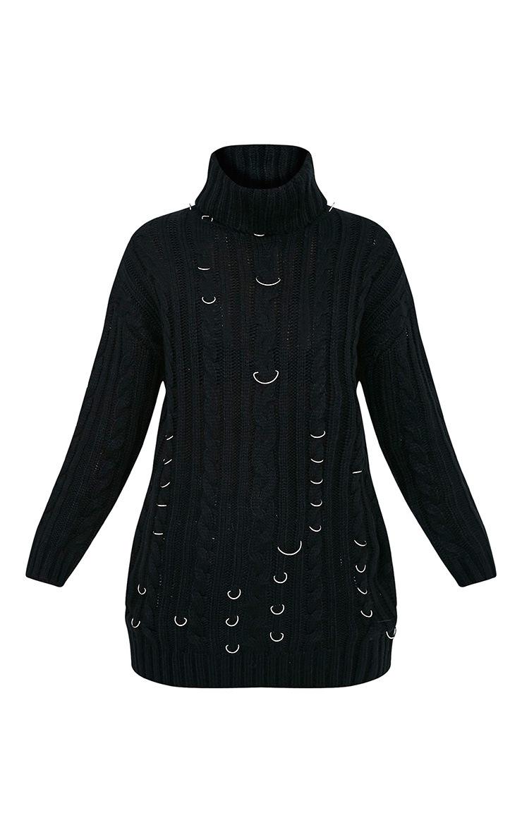 Leilania pull noir en grosse maille avec anneaux 3