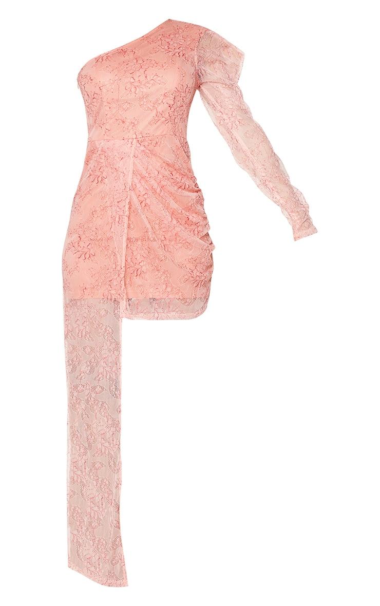 Pink Lace One Shoulder Drape Bodycon Dress 5