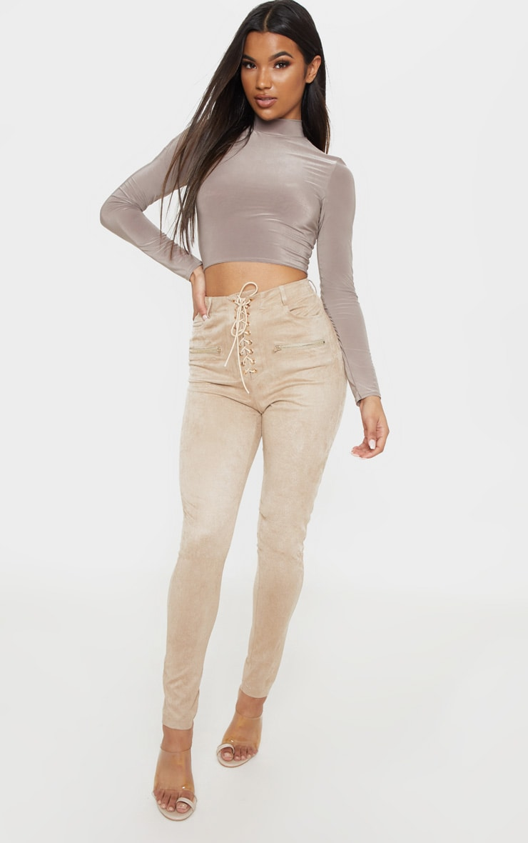 Stone Faux Suede Lace Up Front Skinny Leg Trouser 1