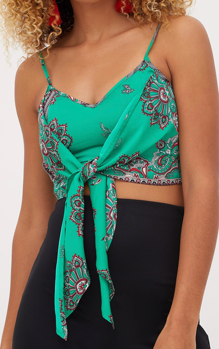 Green Scarf Print Strappy Tie Front Top 5