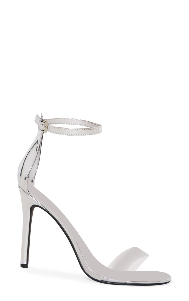 Silver Patent Clear Strap High Heels 3