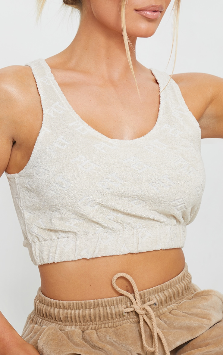 PRETTYLITTLETHING Stone Embossed Towelling Elasticated Crop Top 4