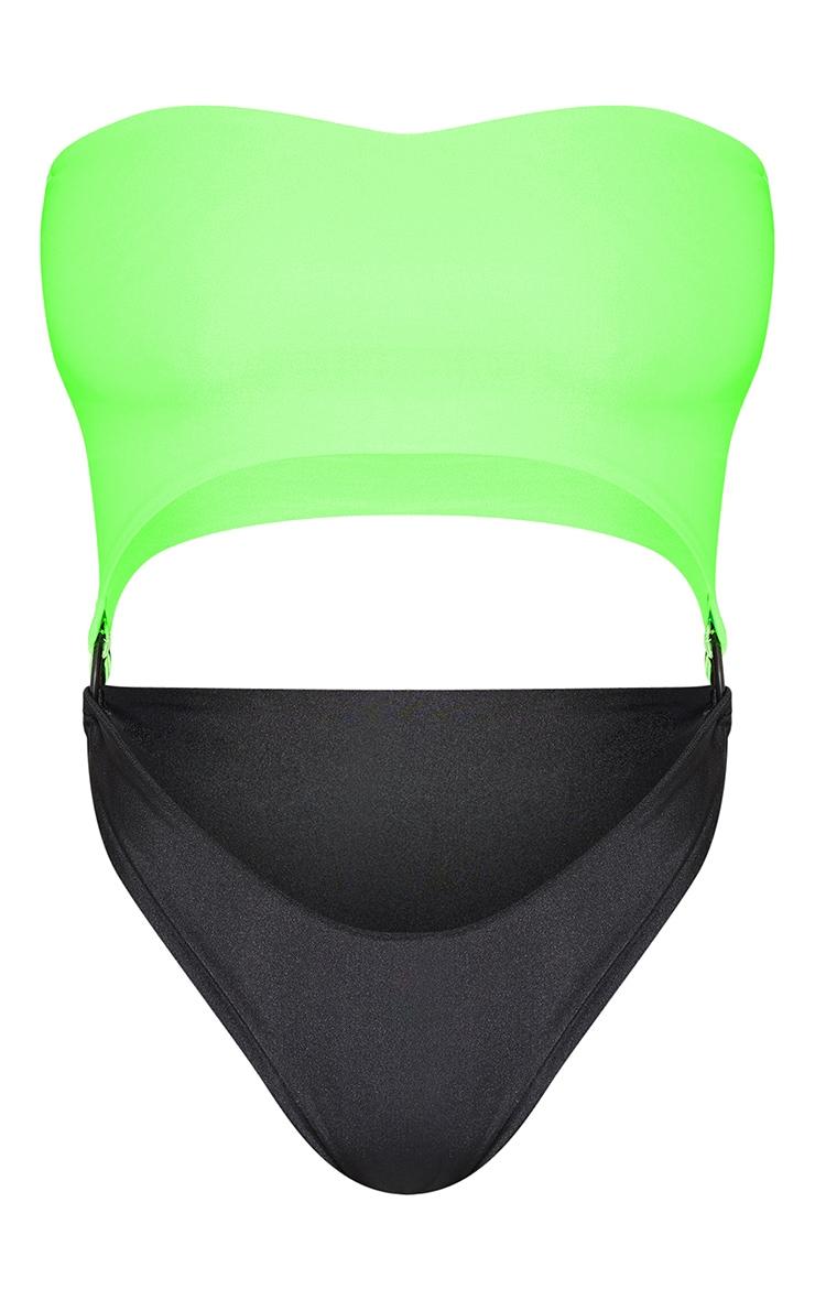 Petite Neon Lime Loop Detail Bandeau Swimsuit 3