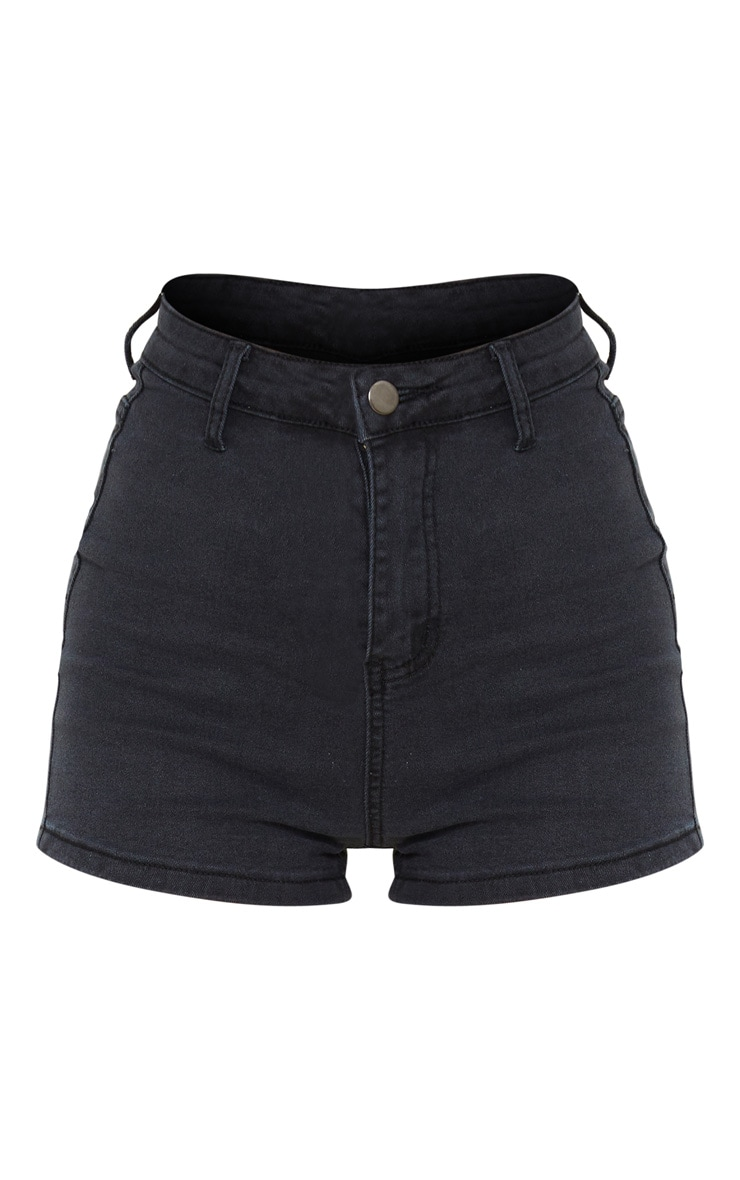 Petite Washed Black Denim Disco Shorts 6