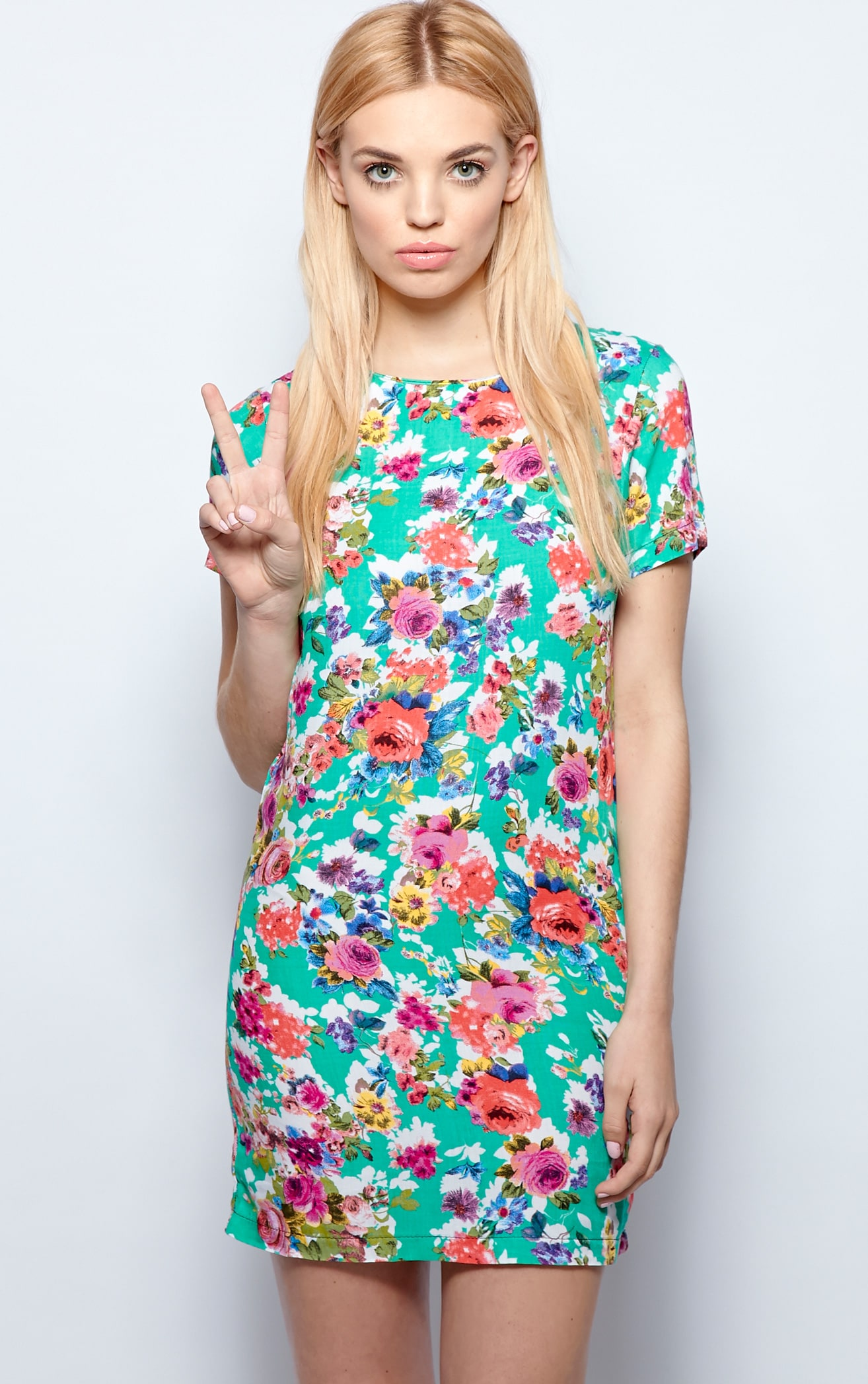 Saskia Green Floral Shift Dress 1