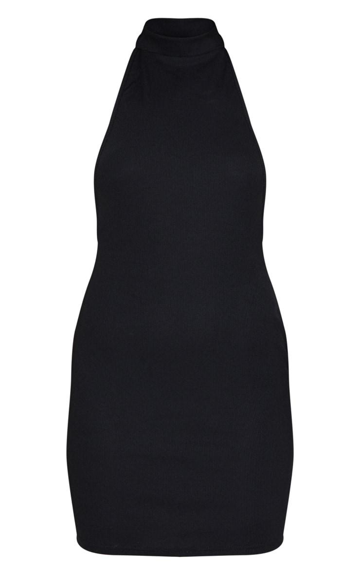 Black Ribbed High Neck Open Back Strap Detail Bodycon Dress 5