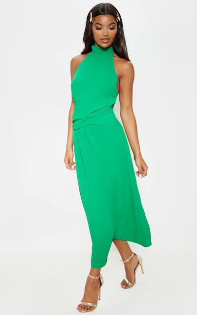 Green Halterneck Wrap Front Maxi Dress