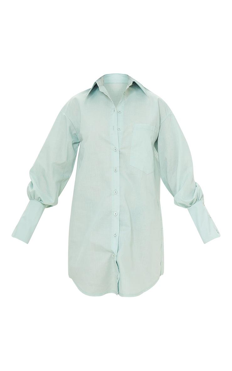 Petite Sage Green Shirt Dress 5