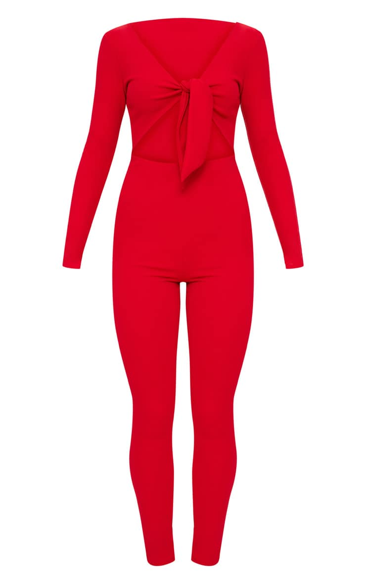 Red Tie Front Long Sleeve Jumpsuit 3