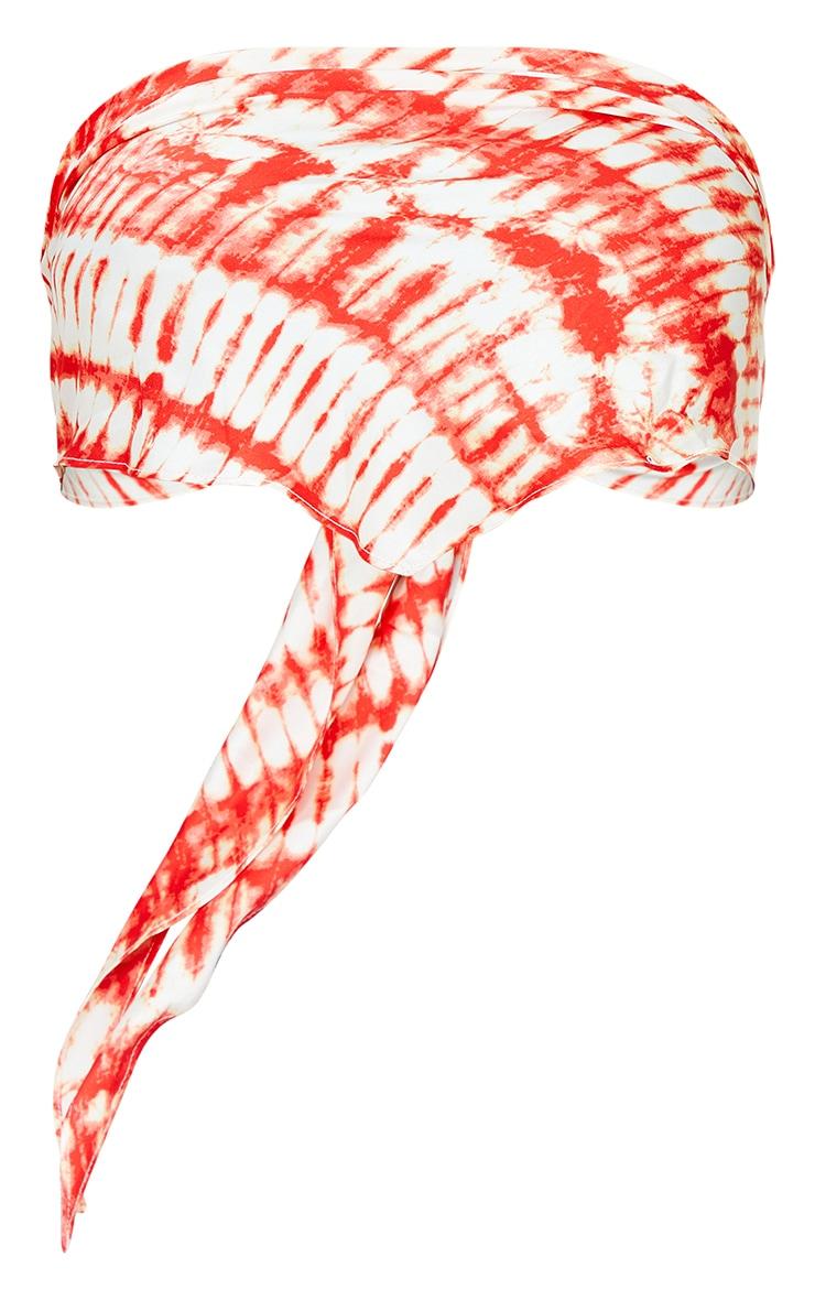 Orange Woven Printed Bandana Style Bandeau Top 5
