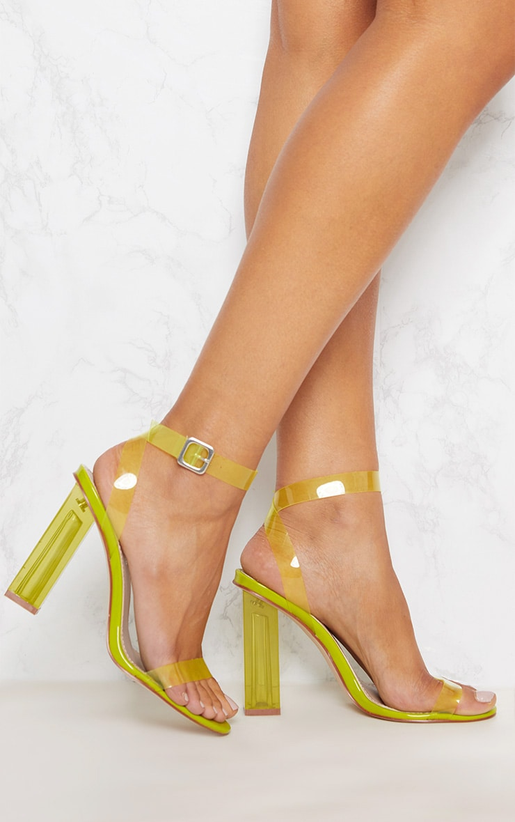 Lime Coloured Clear Strappy Heel 1