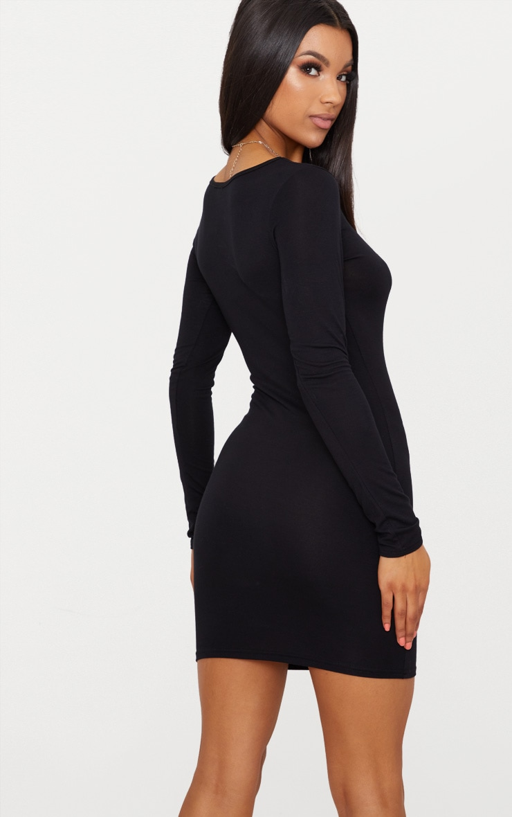 Basic Black Jersey Long Sleeve Bodycon Dress 2