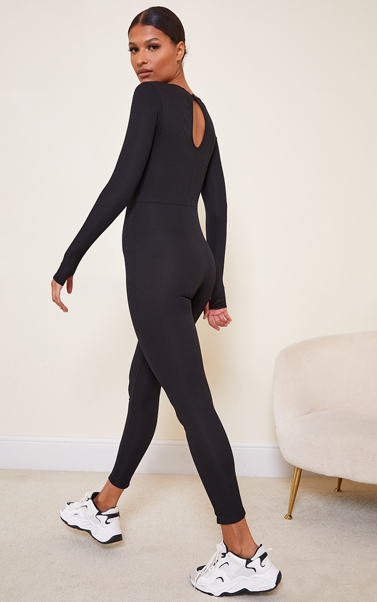 Black Rib Long Sleeve Thumb Hole Jumpsuit 2