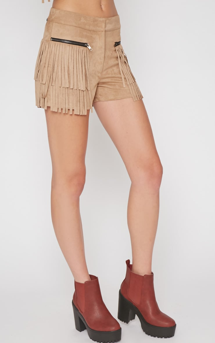 Elina Camel Fringed Short 4