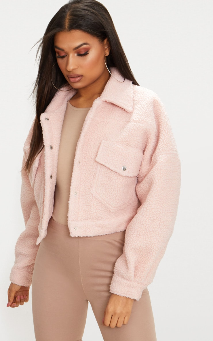 Blush Borg Cropped Trucker Jacket