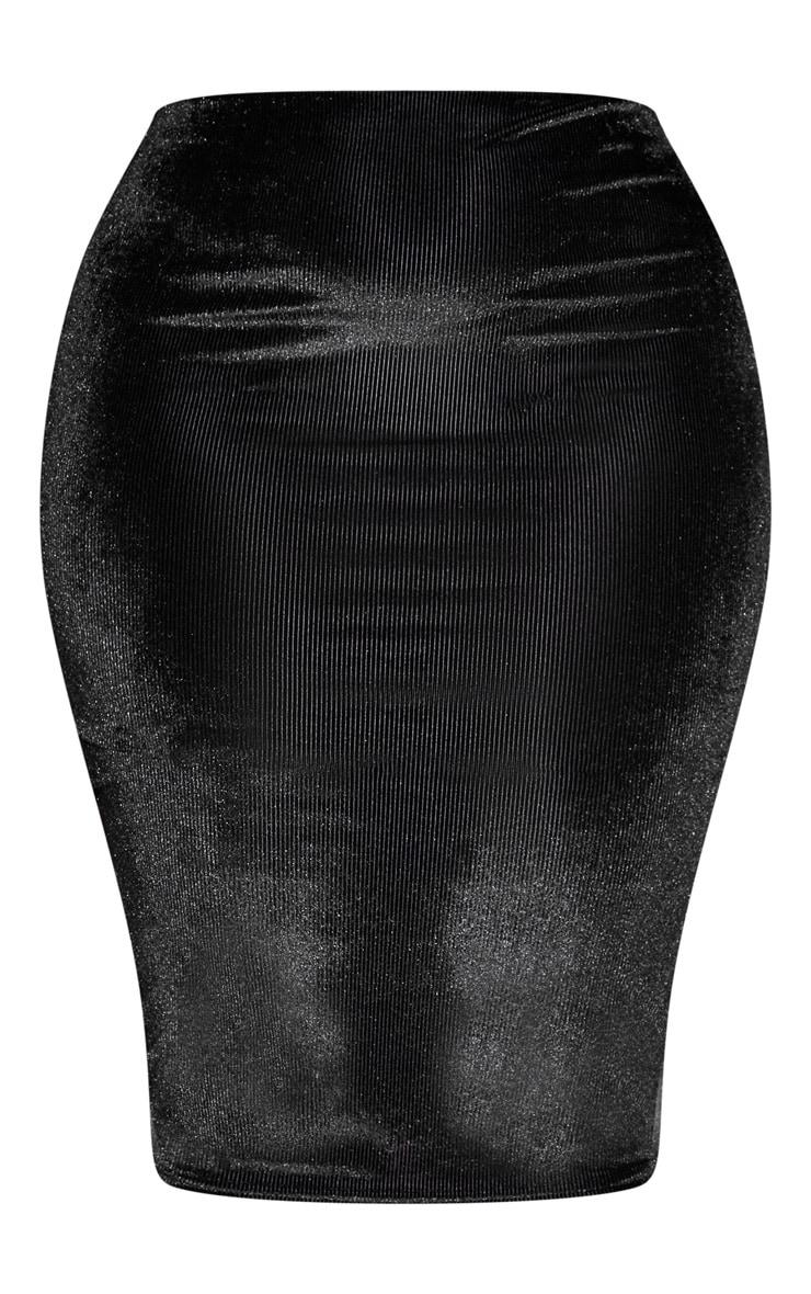 Plus Black Velvet Stripe Midi Skirt  3