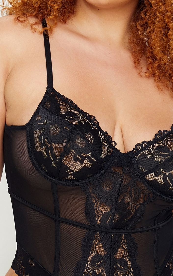 Plus Black Underwired Cage Detail Lace Body 4
