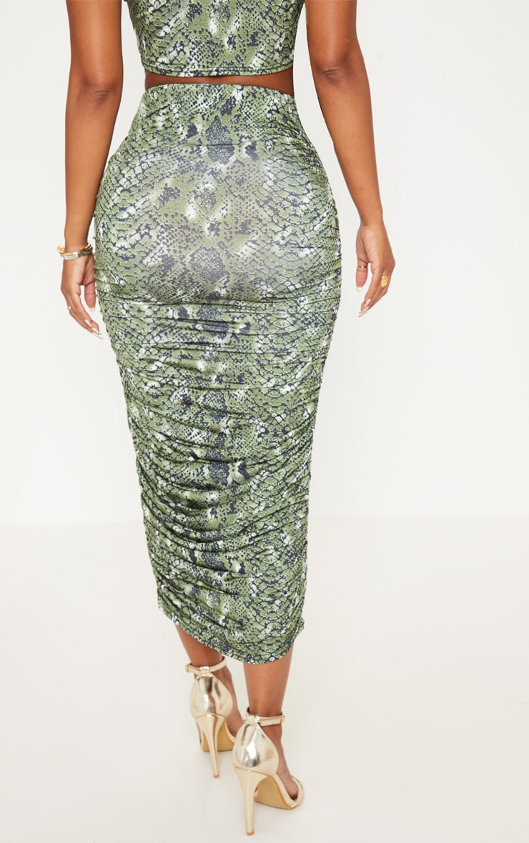 Shape Green Snake Print Ruched Midi Skirt 4
