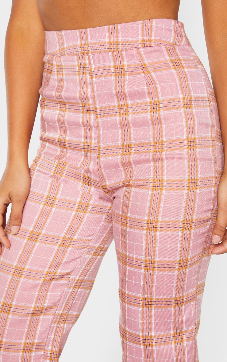 Petite Coral Checked Trousers 5