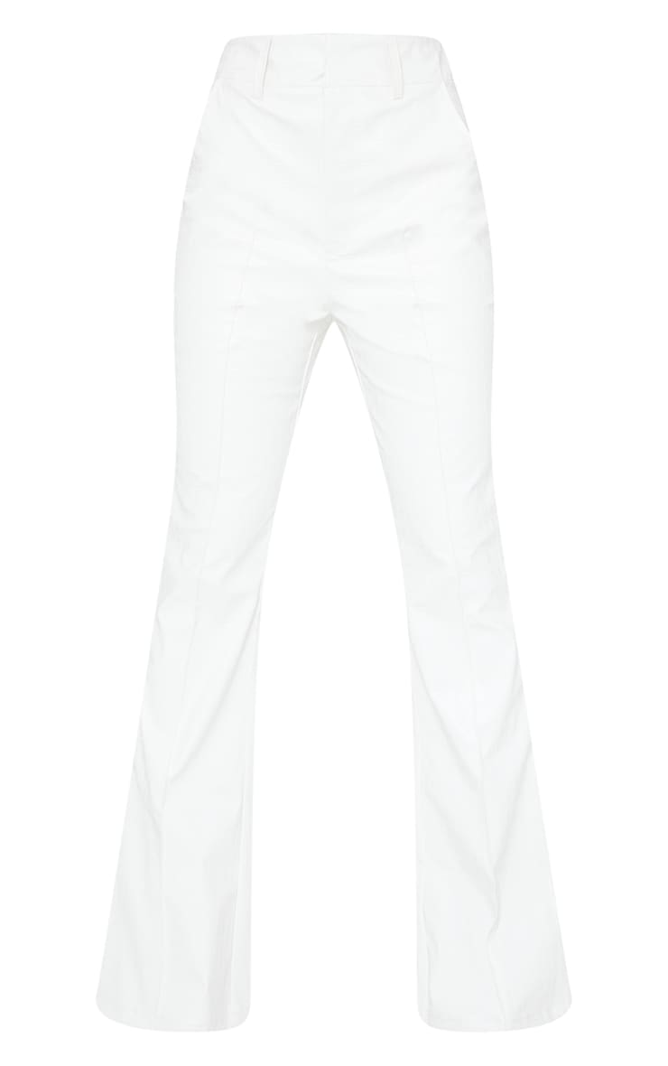 Tall Cream Faux Leather Croc Embossed Flare Trousers 5