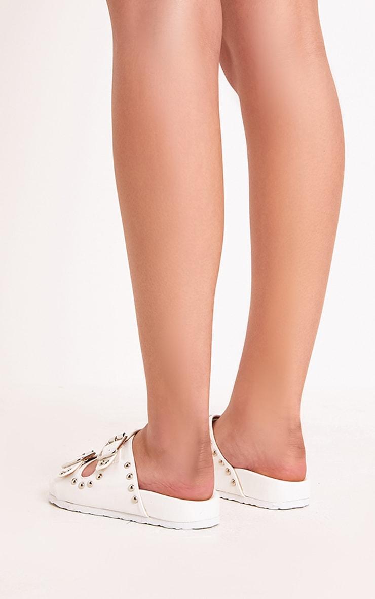 Philipa White Studded Strap  Sliders 4