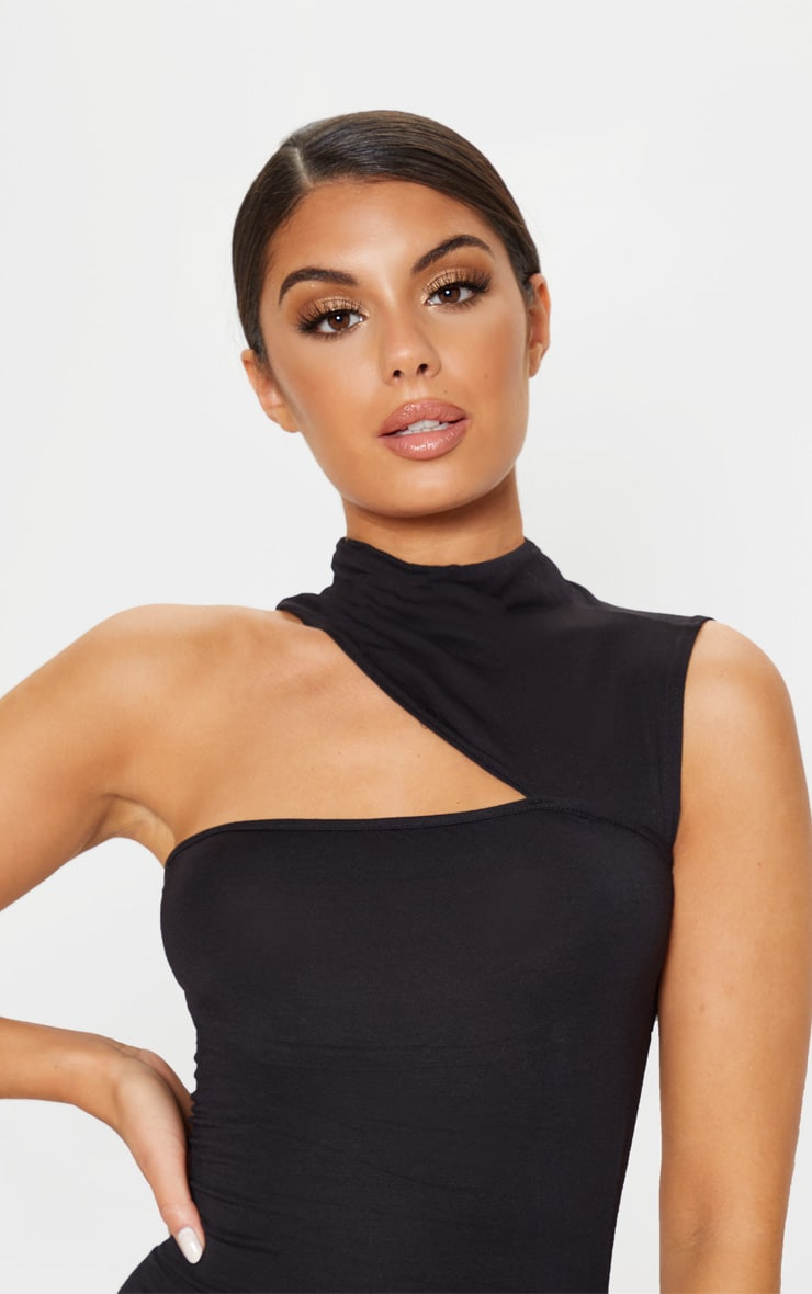 Black High Neck Cut Out Sleeveless Bodycon Dress 5