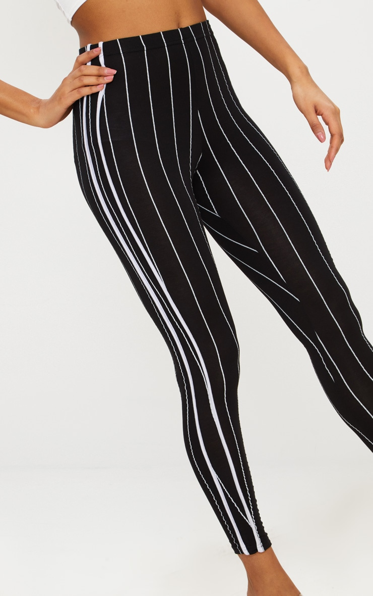 Black Pinstripe High Waisted Side Stripe Legging  3