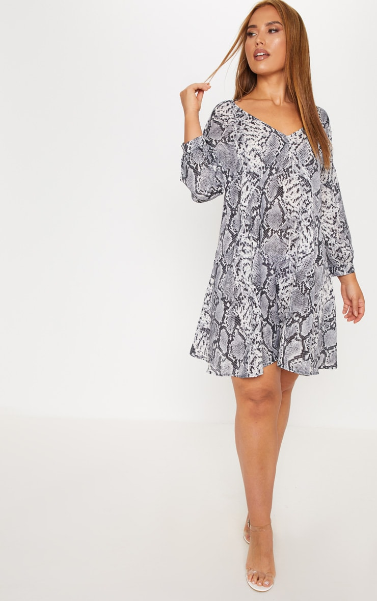 Plus Grey Snake Print Long Sleeve Shift Dress 4