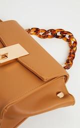 Tan Square Mini Bag Tortoiseshell Chain Handle 3