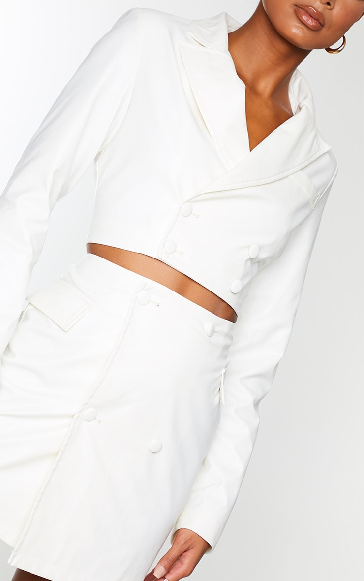 Cream PU Double Breasted Fitted Blazer 4