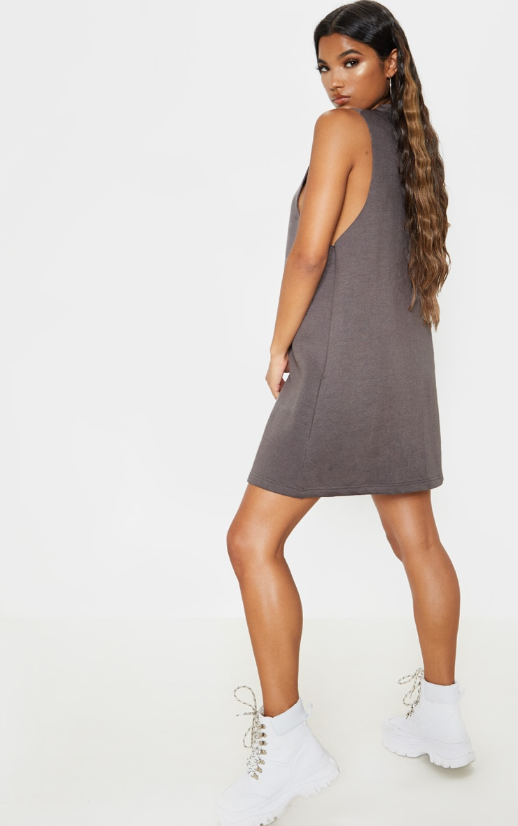 Charcoal Oversized V Neck Sleeveless Sweater Dress 2