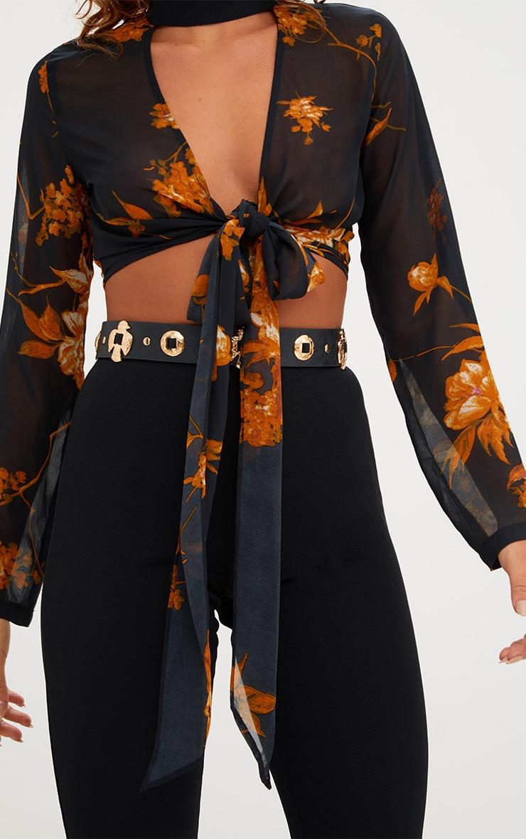 Beckette Black Floral Print Choker Tie Blouse 4