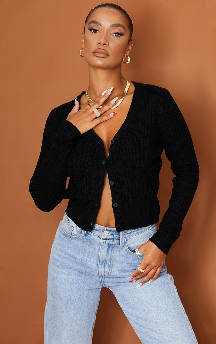Black Button Front Cardigan 1