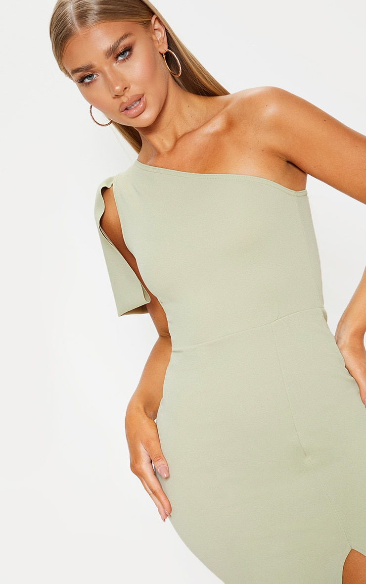Sage Green One Shoulder Bow Detail Midi Dress 4