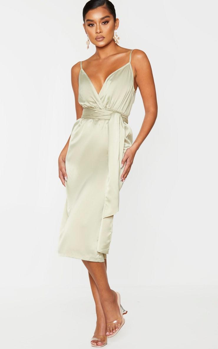 Sage Green Satin Tie Waist Midi Slip Dress 1