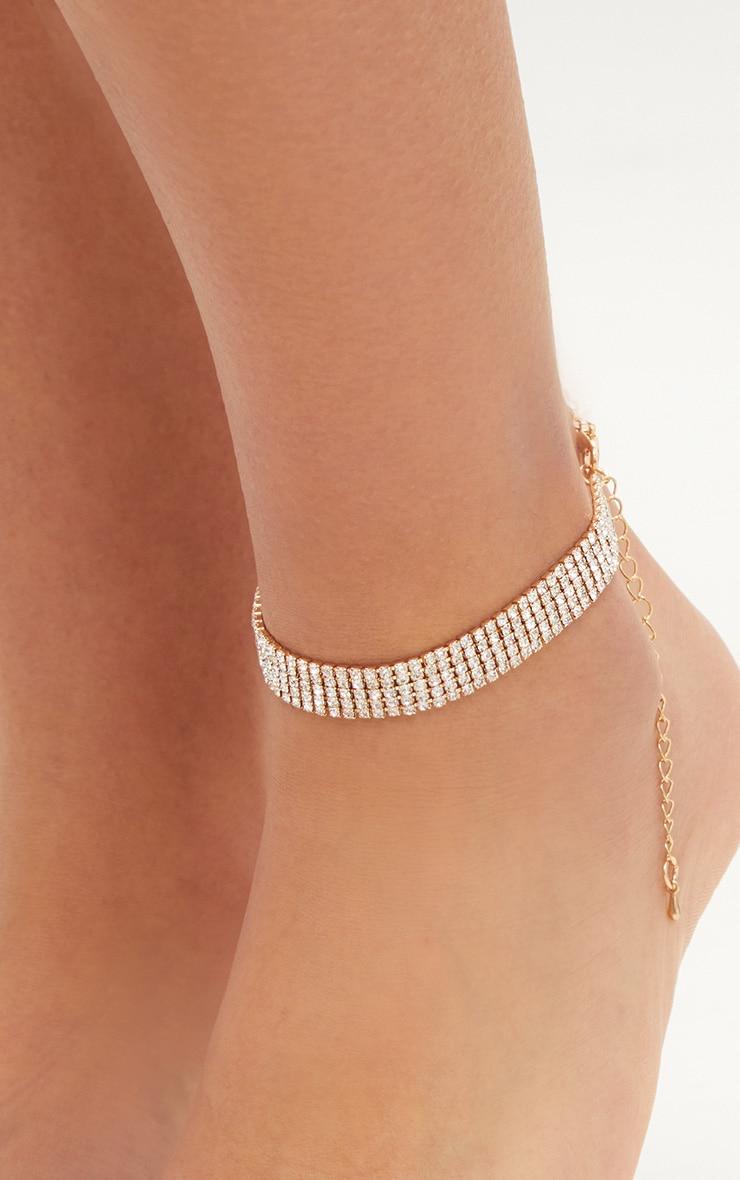 Gold Diamante Anklet 2