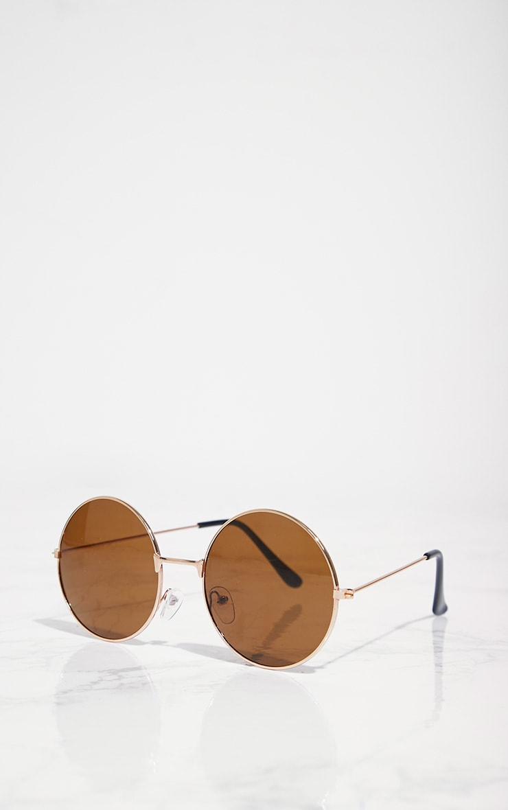 Rose Gold Brown Lens 90's Round Metal Sunglasses 3