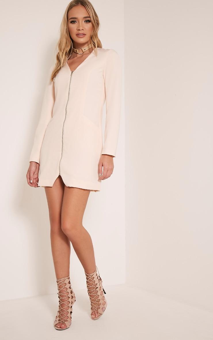 Adel Nude Zip Front Crepe Blazer Dress 1