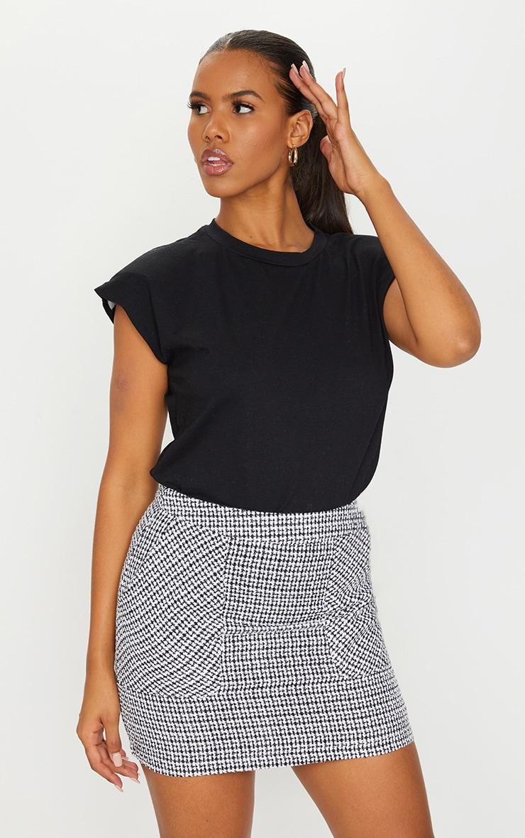 Black Tweed Pocket Detail Mini Skirt 1