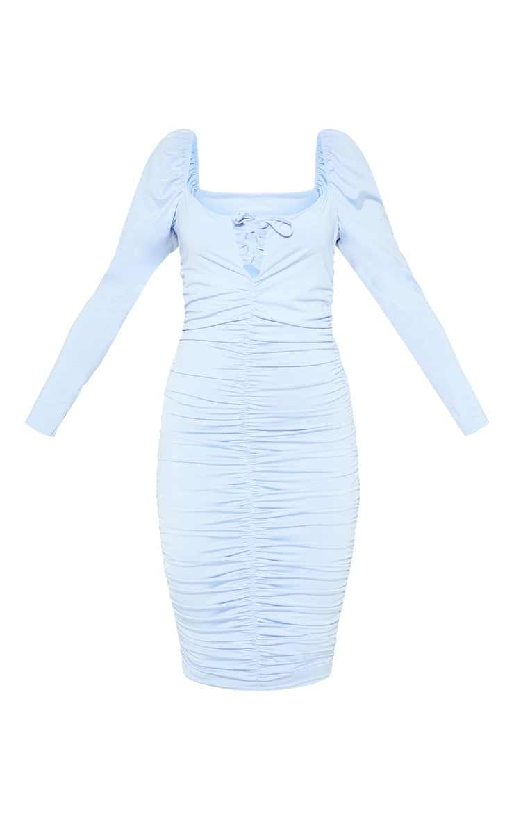 Baby Blue Square Neck Lace Up Ruched Midi Dress 3