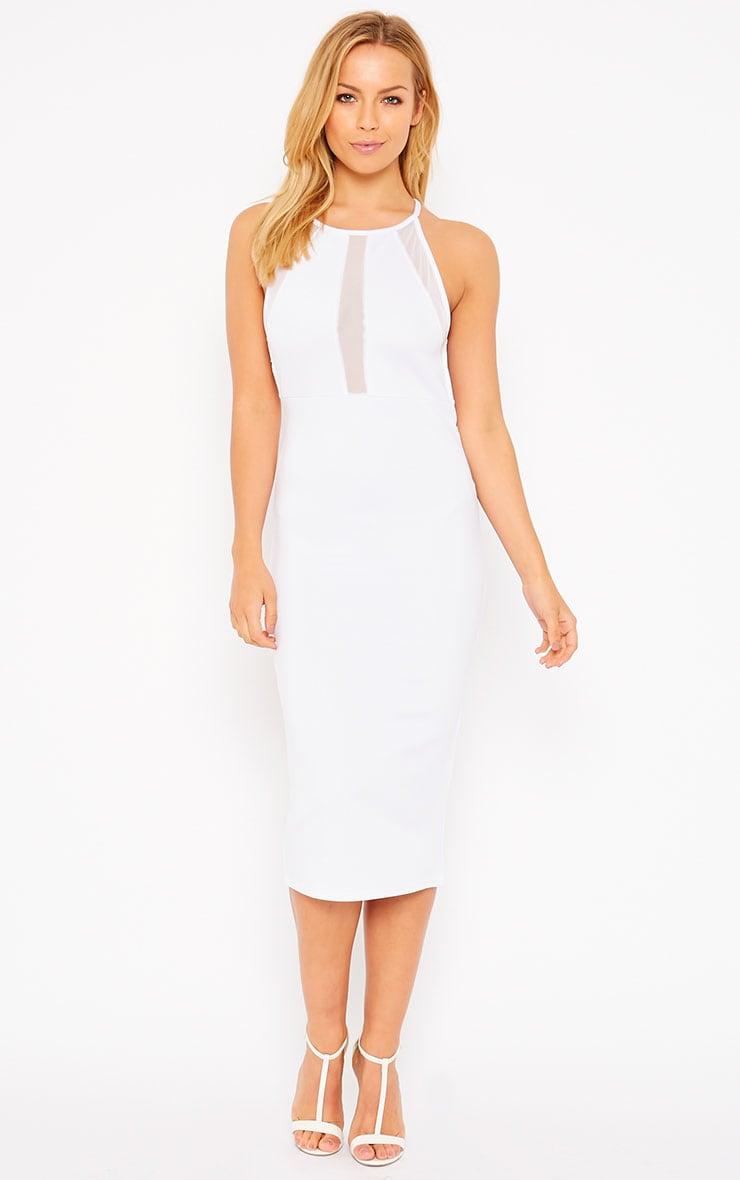 Naveen White Mesh Front Midi Dress 1
