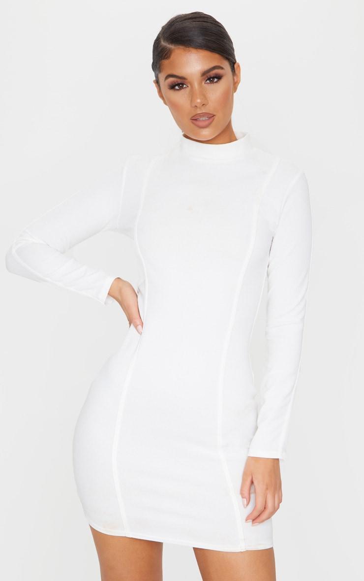 Cream High Neck Long Sleeve Binding Detail Bodycon Dress 1