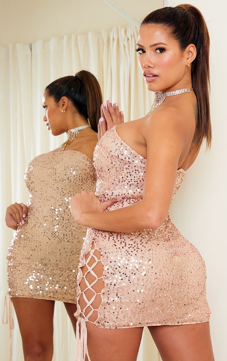 Shape Gold Sequin Lace Up Detail Bandeau Bodycon Dress 2