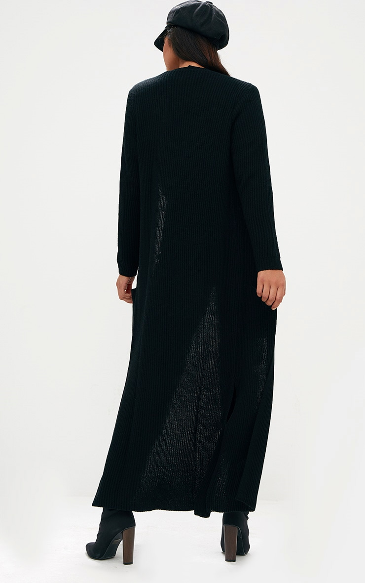 Black Pocket Front Maxi Cardigan 2