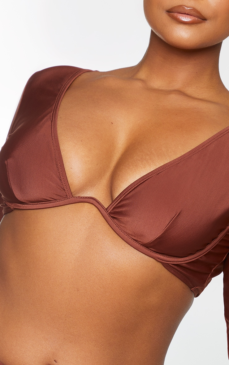 Plus Chocolate Brown Cup Detail Long Sleeve Bikini Top 4