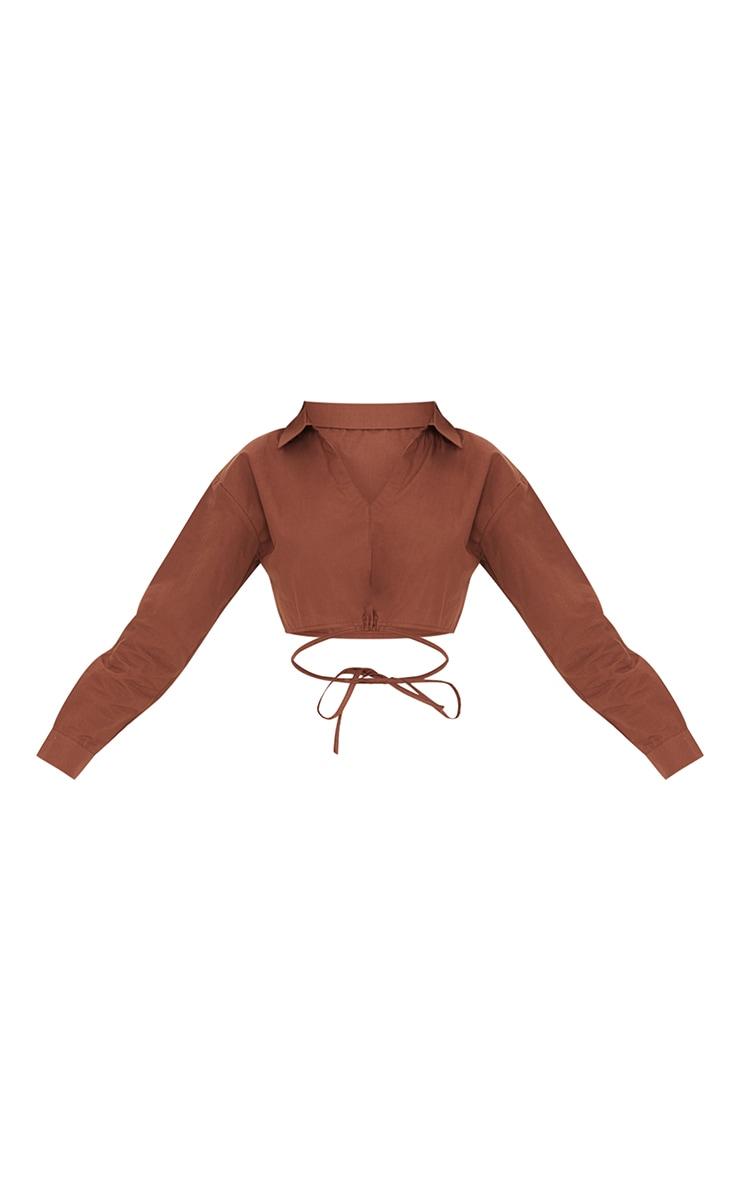Chocolate Cotton Crop Tie Waist Long Sleeve Shirt 5