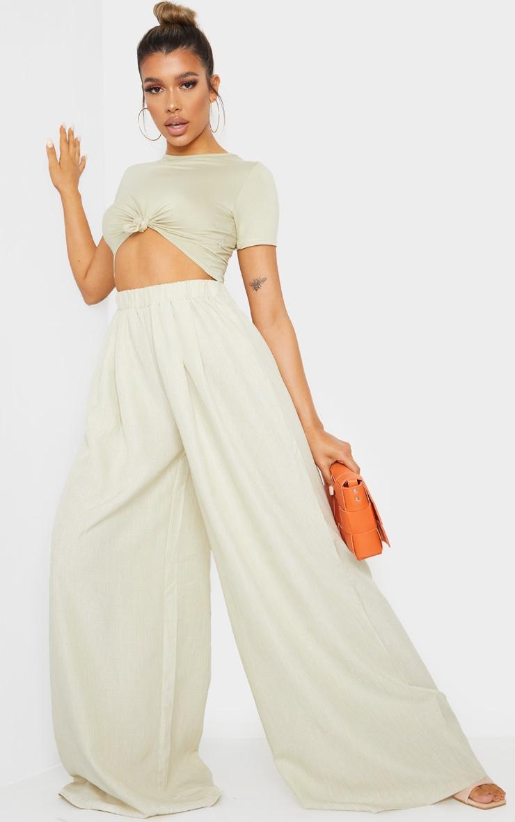 Khaki Linen Detail Print Wide Leg Trousers image 1