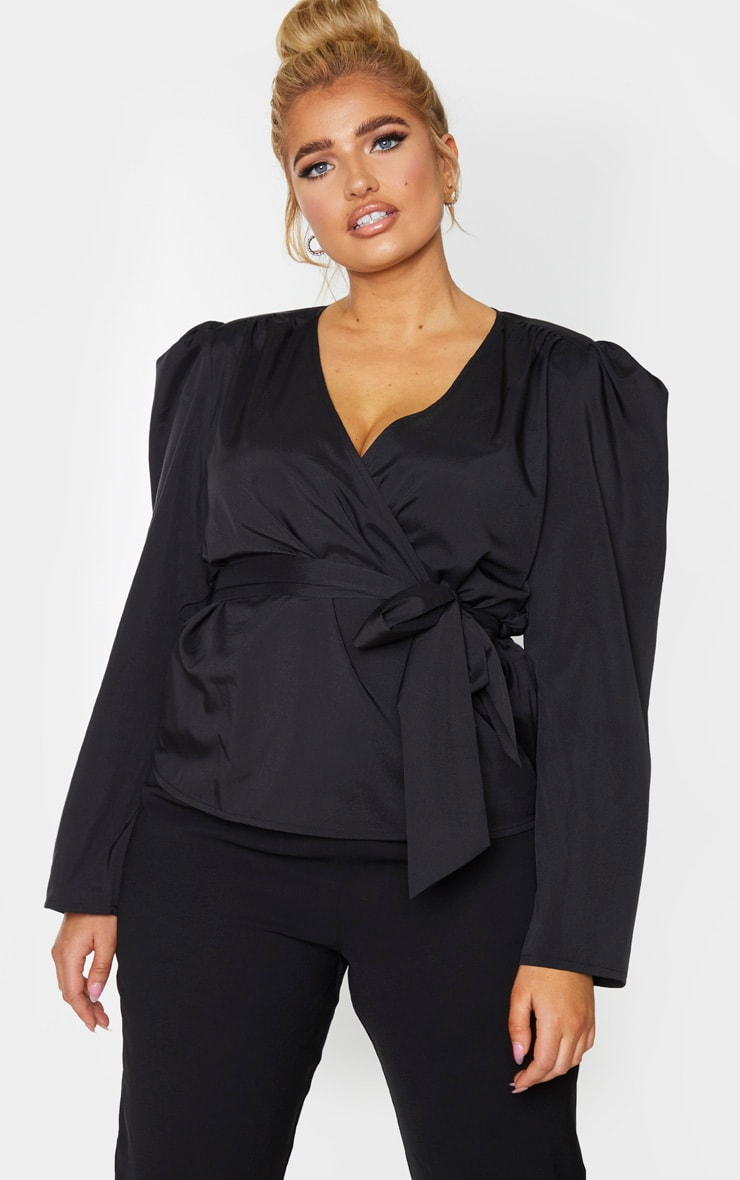 Plus Black Woven Plunge Puff Sleeved Blouse 3